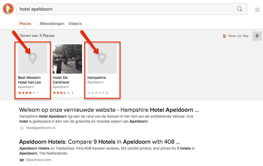 DuckDuckGo resultaten voor 'hotel Apeldoorn'