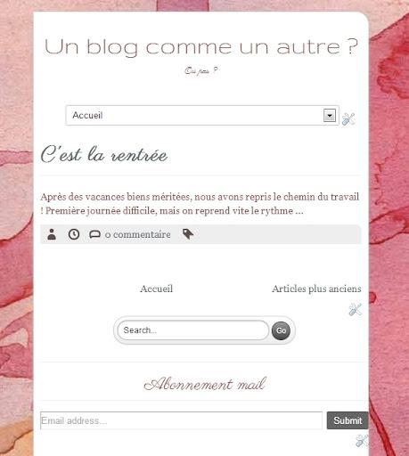Affichage du blog sur une tablette en mode portrait