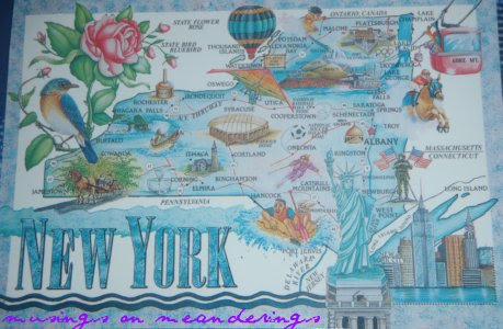 postcards, map cards, New York