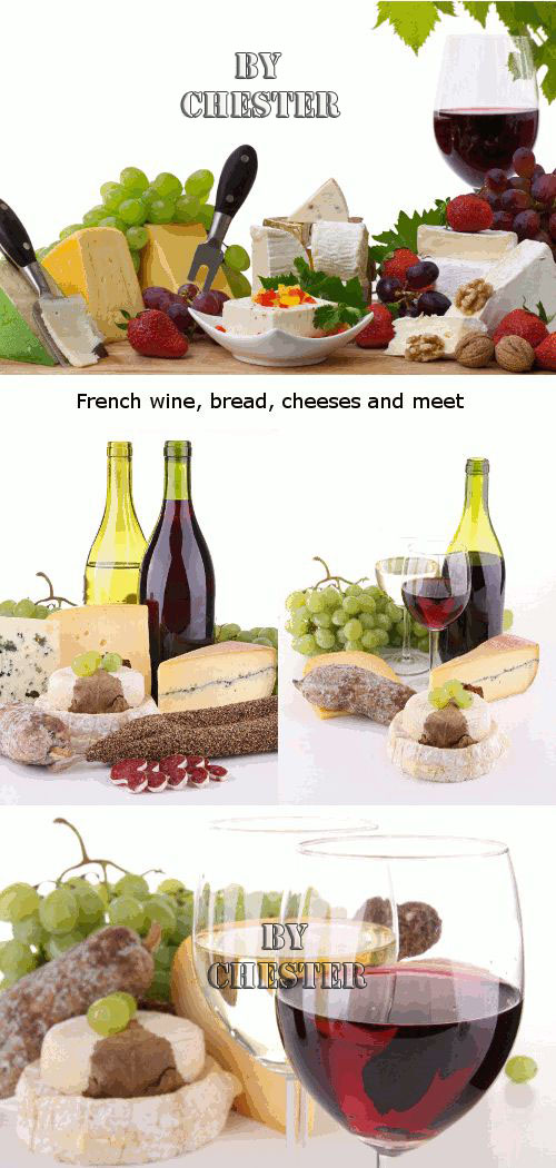 Still-life: French wine, bread, cheeses and meat