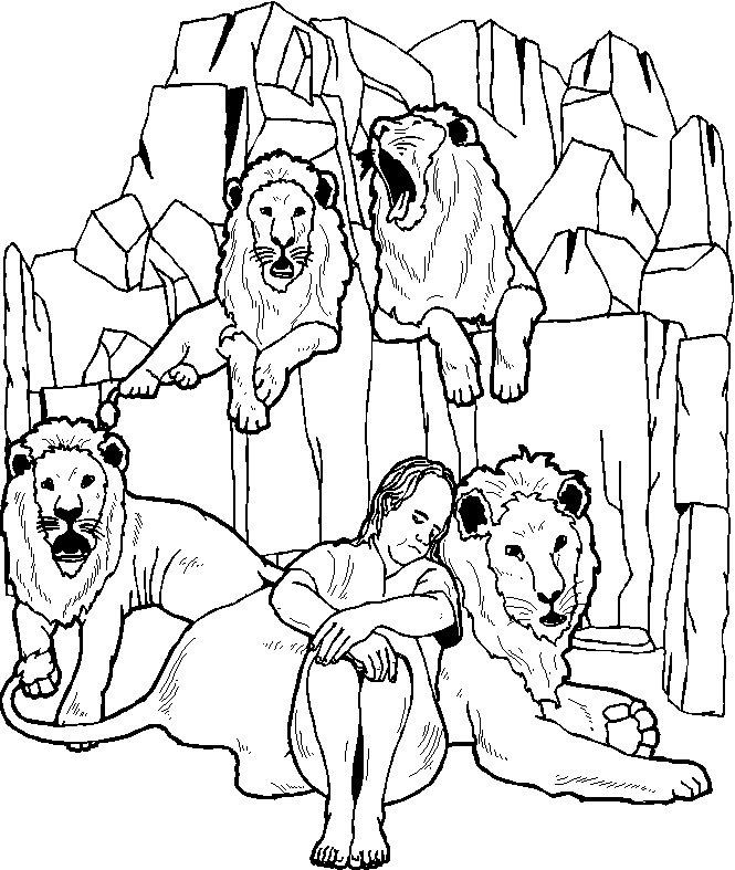 Daniel con los leones para colorear