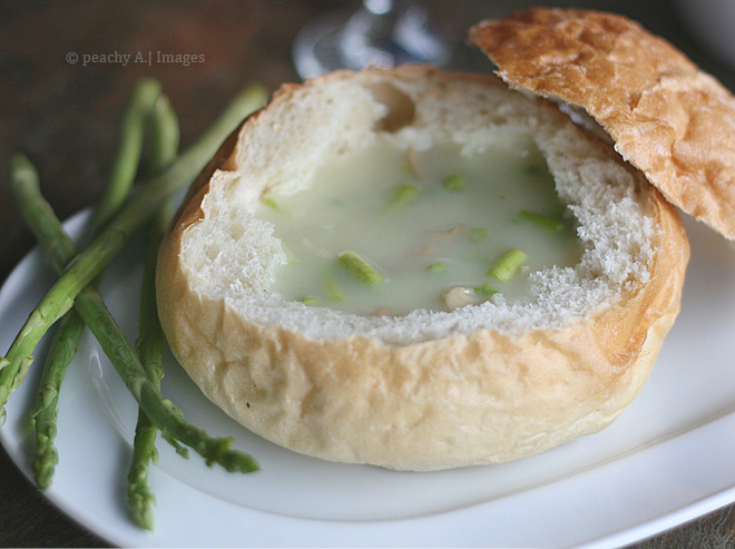 Creamy Asparagus Soup in a Bread Bowl | www.thepeachkitchen.com