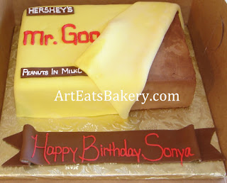 Mr. Goodbar candy bar custom designed birthday cake with yellow fondant wrapper
