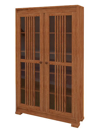 Hillside Glass Door Bookshelf in Vermont Maple