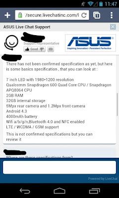 Nexus7 2nd Gen Spec ASUS Live Chat Support