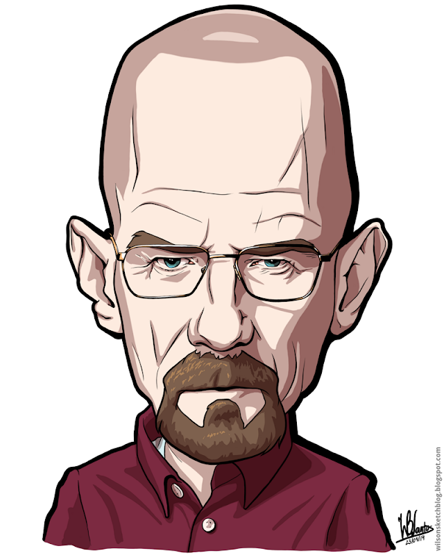 Cartoon caricature of Walter White from Breaking Bad.