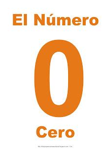 Lámina para imprimir el número cero en color naranja