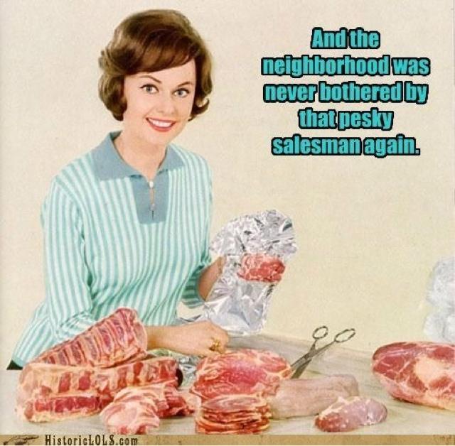 funny salesman housewife murder image