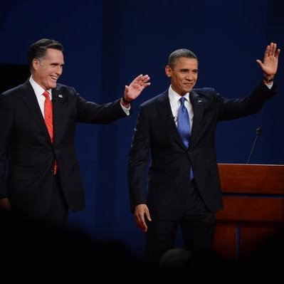 President Barack Obama and former Massachusetts Governor Mitt Romney wave to the audience at the start of the presidential debate Wednesday, October 3, 2012 at the University of Denver. View more images here. Photo: Craig F. Walker, The Denver Post