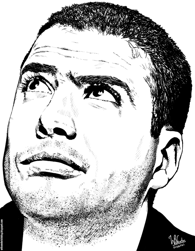 Ink drawing of Ricardo Araújo Pereira, using Krita 2.4.