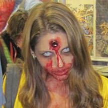 Marca de tiro na cabeça - maquiagem