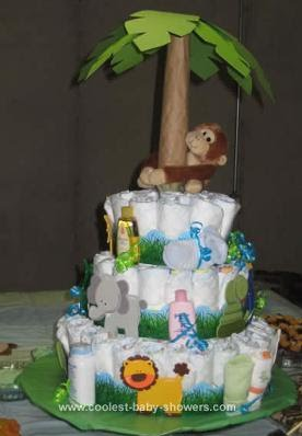 Add a fun paper palm tree and some animals to dress up the diaper cake