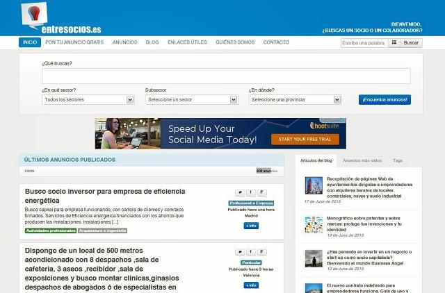 Entresocios, un portal para encontrar Socios y Colaboradores para tu Negocio