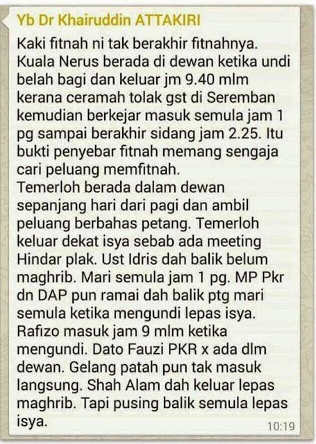 Penjelasan Salah Seorang MP PAS Isu Ponteng Dewan