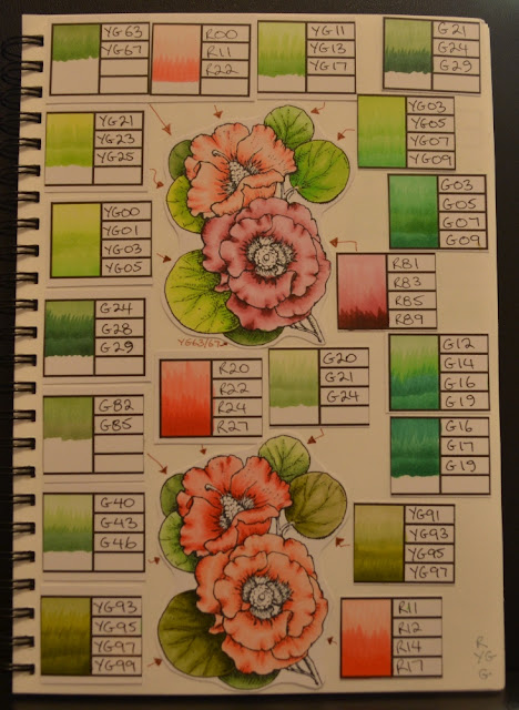 Elizabeth Whisson, copic journal, copic, copic colours, Flourishes, Bloomin Aussie Florals, YG, R