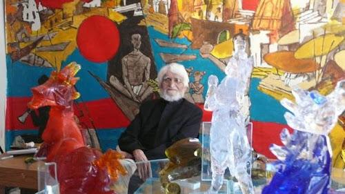 M.F. Husain in london studio