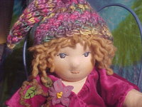"Little Fiona - 13 1/2"" Waldorf doll, lightly weighted, hand knit longies and hat"