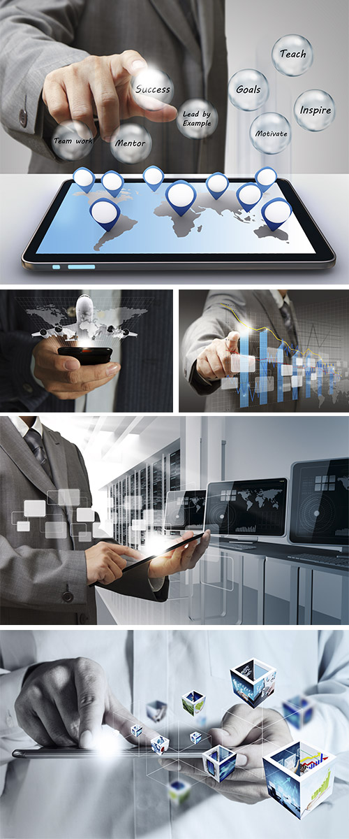 Stock Photo: Businessman hand touch virtual graph