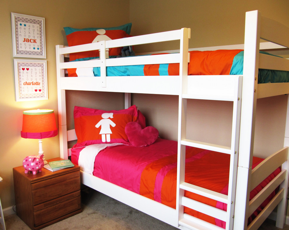 Make your own custom bedding part 1 positively for Girls bedroom decorating ideas with bunk beds