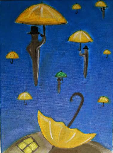 Летящи чадъри / масло