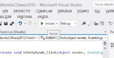 Mi primera aplicación con Visual Studio .Net 2012, Hola mundo