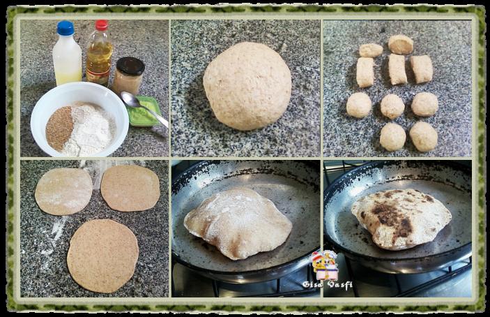 Pão sirio integral com fermento natural