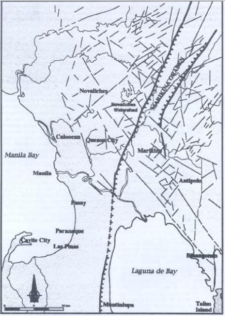 Rough Marikina Fault Line map