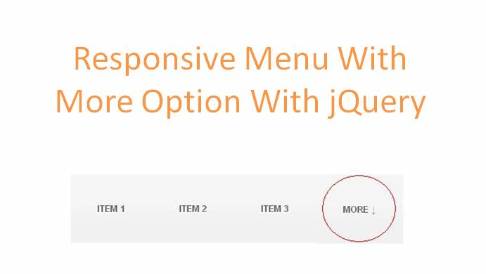 Responsive Menu or Navigation Bar With MORE Option With