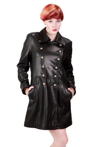 Ramonti Womens Double-Breasted Leather Military Coat, Black, XX-Large