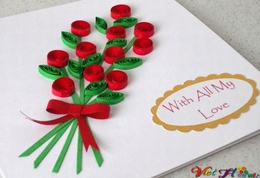 Làm thiệp hoa hồng bằng giấy cuốn