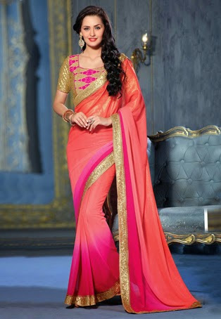 Dark Peach and Fuchsia Faux Georgette Saree