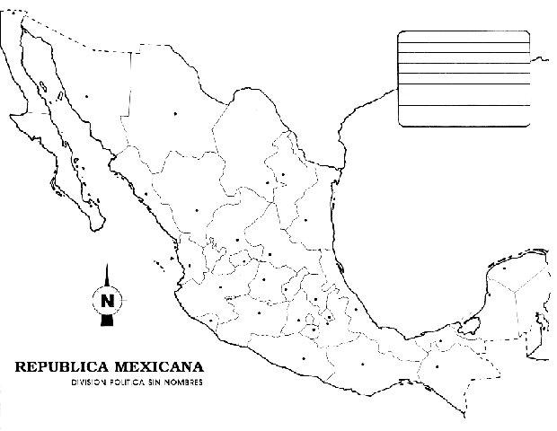 Pinto Dibujos Mapa de Mxico sin nombres para colorear