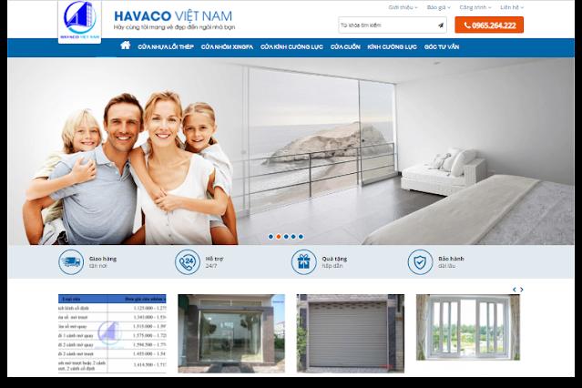 Web mẫu website cửa hàng cửa nhôm kính