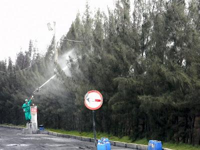 Agoamento constante da vegetação inclusive da área no entorno do terminal e mangue é feito para evitar acúmulo de resíduo.