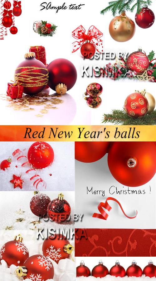 Stock Photo: Red New Year s balls