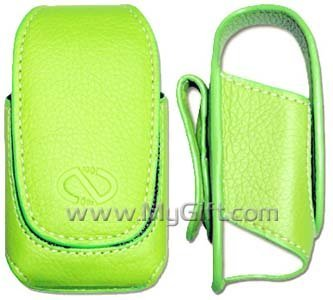 Samsung SPH-M510 Green Pouch Leather Case with Belt Clip