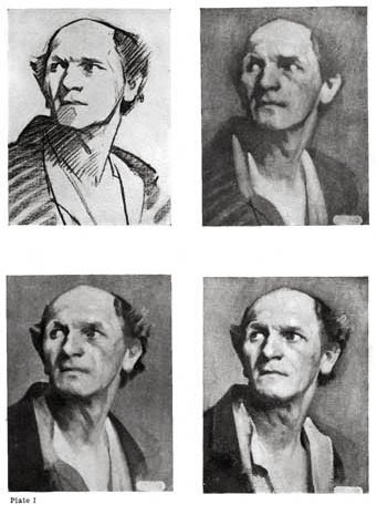 Plate I. FOUR PHOTOGRAPHS OF SAME MONOCHROME PAINTING IN DIFFERENT STAGES ILLUSTRATING A METHOD OF STUDYING MASS DRAWING WITH THE BRUSH