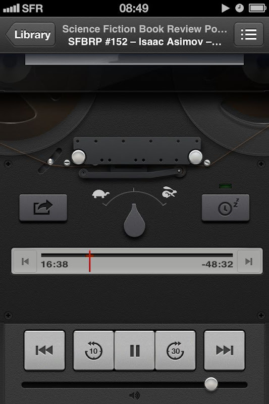 iOS Podcasts player with old tape design