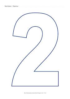 Dibujo para colorear y pintar el número dos en color azul