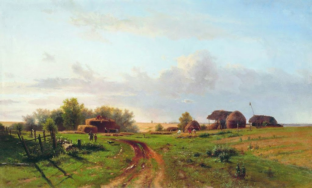 Lev Kamenev - Harvest (Landscape with stacks), 1872
