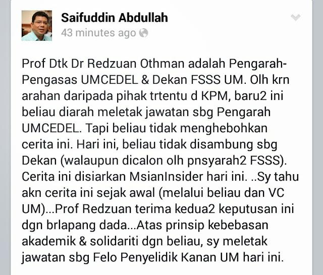 Dato Saifuddin Letak Jawatan Felo UM