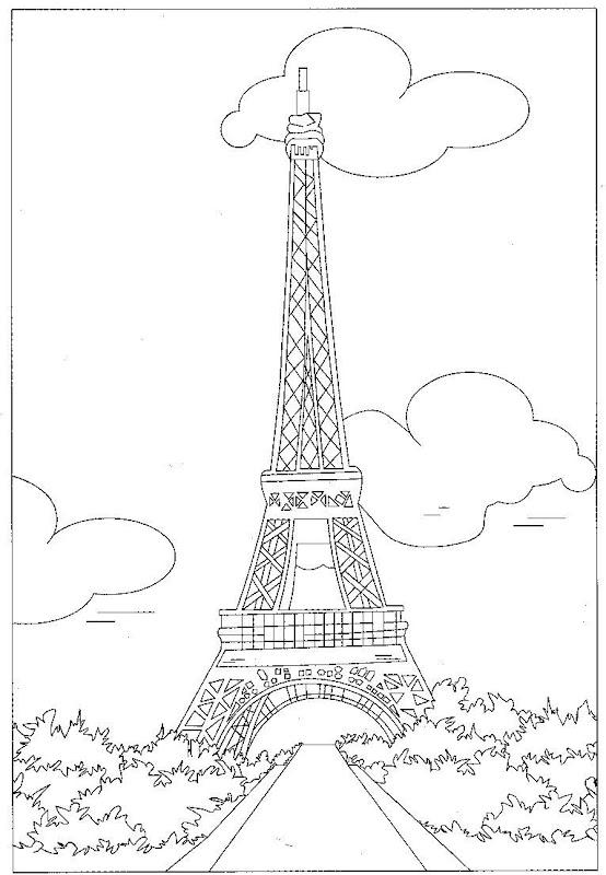 Pinto Dibujos: La torre Eiffel de París para colorear