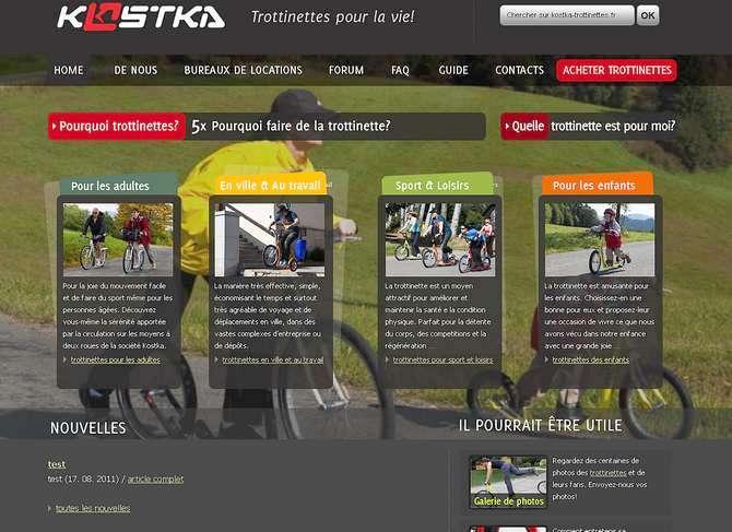 vue du site officiel en français des trottinettes tchèques KOSTKA