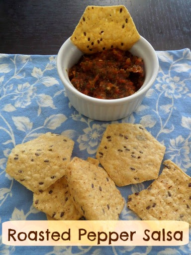Roasted Pepper Salsa:  A basic salsa amped up with red bell pepper added and a slightly smoky boldness from being roasted.  It makes a great football snack.