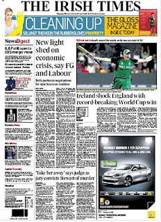 Ireland's World Cup victory over England made the front page news of the Irish Independent, England v Ireland, Group B, World Cup, Bangalore, March 2, 2011