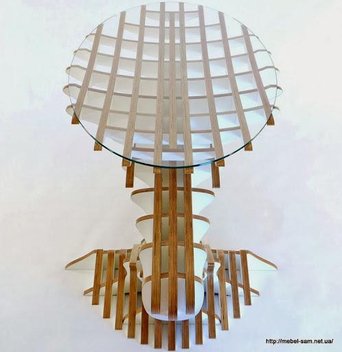 Материал столешницы - закаленное стекло овальной формы