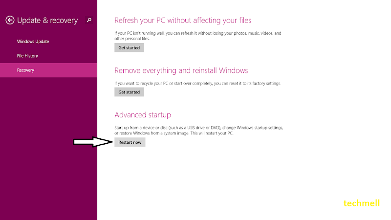 Recovery Menu in Win 8.1