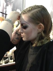 Model having a makeover