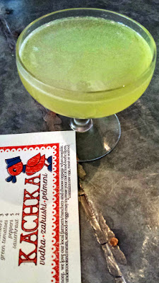 Kachka PDX Happy Hour drink of the Baba Yaga with chamomile vodka, liquore strega, lemon