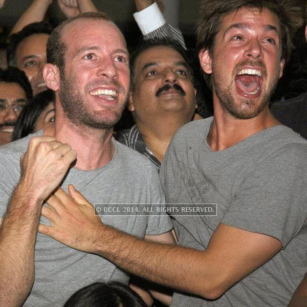 Enrico and Jonas during the 2014 FIFA World Cup final screening, held at Germany embassy, in New Delhi, on July 13, 2014.